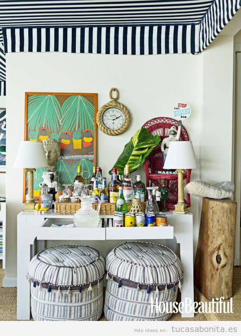Barra o mueble bar para decorar casa en verano