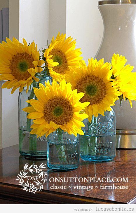 Decoración de casa en tonos amarillos para verano, girasoles