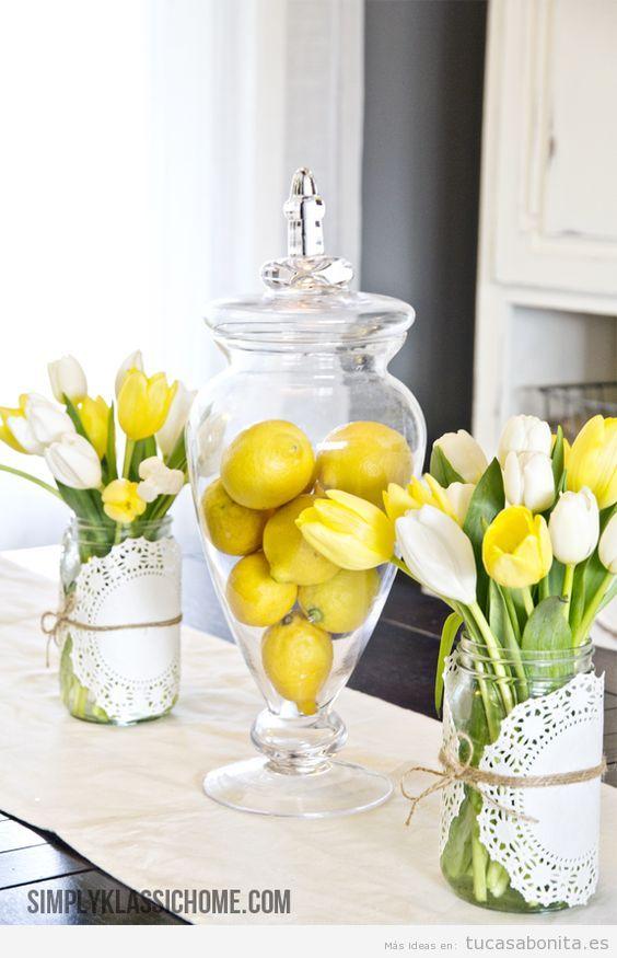 Decoración de casa en tonos amarillos para verano, limones y tulipanes