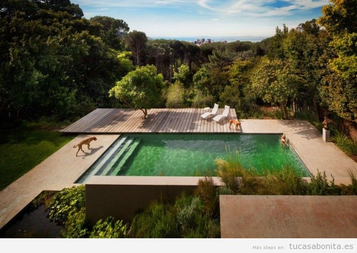 Decoración piscina exterior con tarimas madera