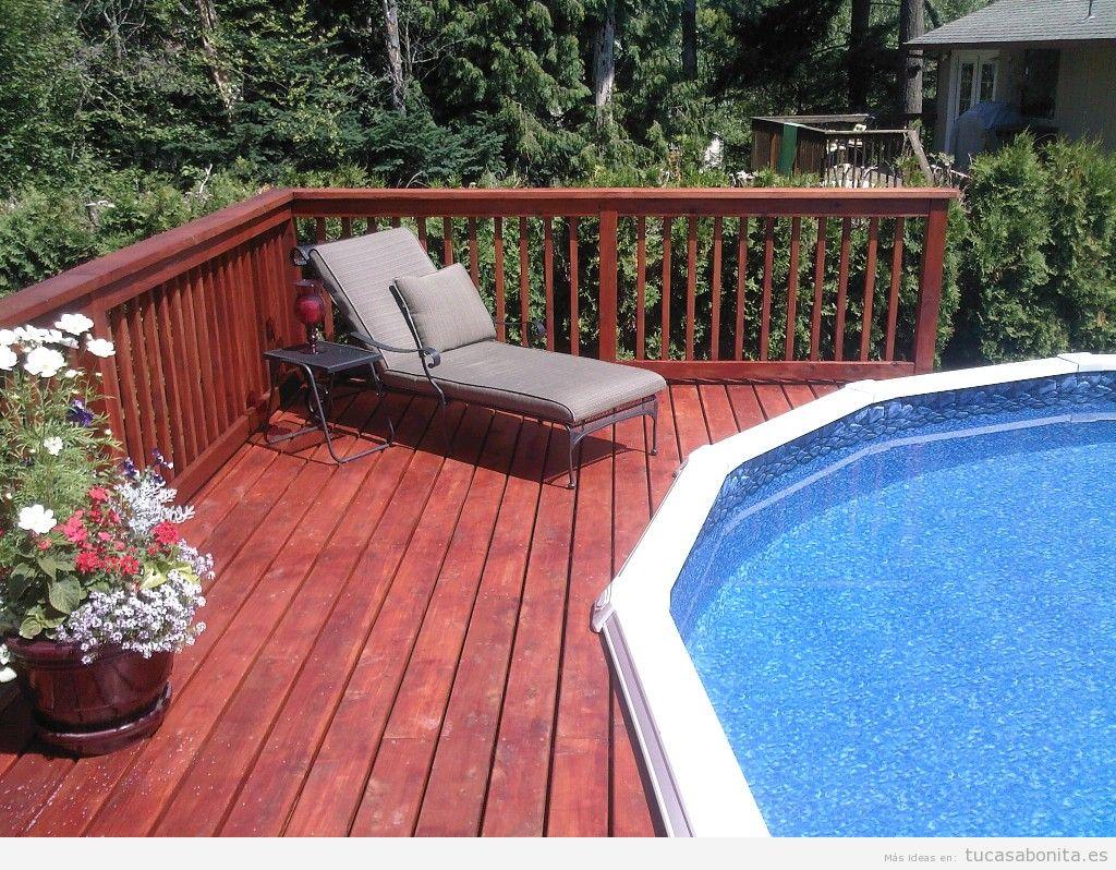 Decoración piscina exterior con tarimas madera 2
