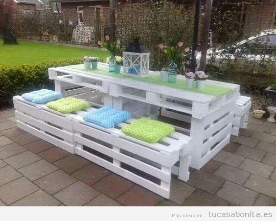 Muebles jardineras y casetas diy hechas con palets para for Mesas de palets para jardin
