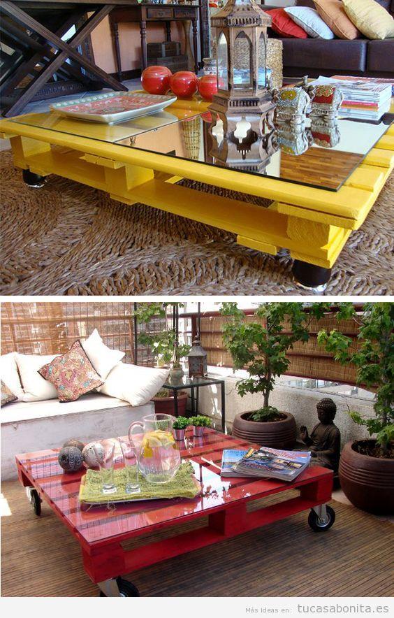 Muebles jardineras y casetas diy hechas con palets para - Mesas de palets para jardin ...