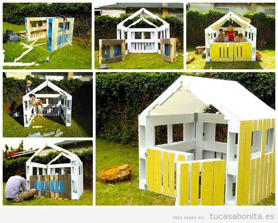 Casa juegos jardín hecha con palets