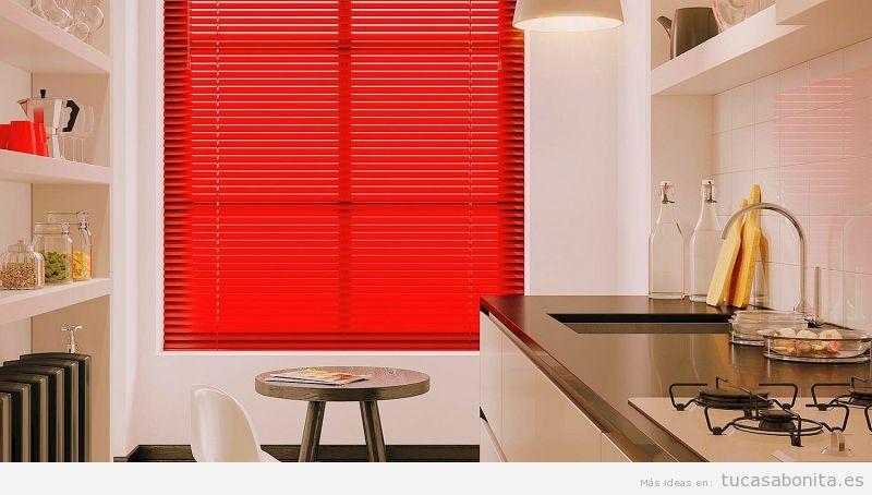 Persiana aluminio roja para cocina