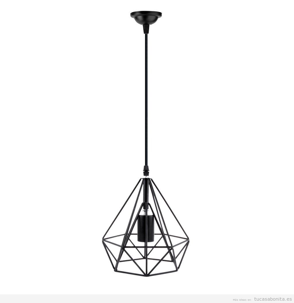 Comprar online lámpara geométrica metal forma diamante color negro