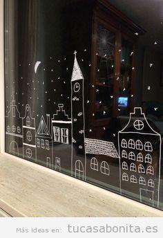 Ideas decoración ventana frases y dibujos tiza líquida Navidad