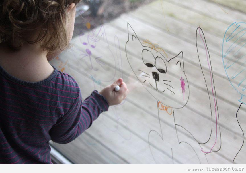 Ideas decoración ventana frases y dibujos tiza líquida para niños