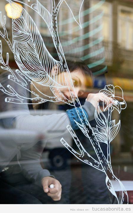 Ideas decoración ventana dibujos bonitos tiza líquida 2