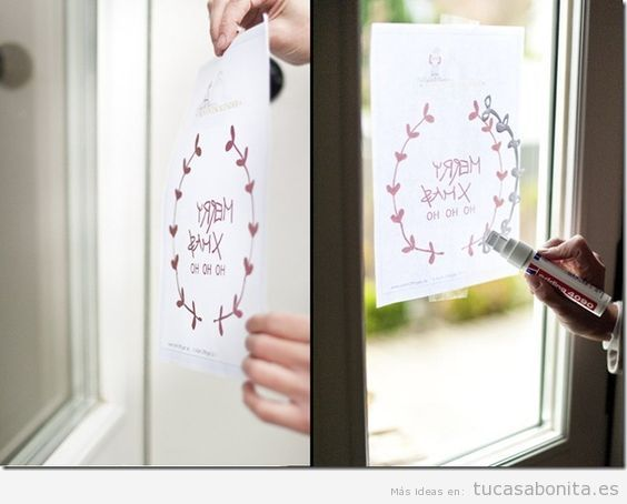 Ideas decoración ventana dibujos bonitos tiza líquida con plantilla