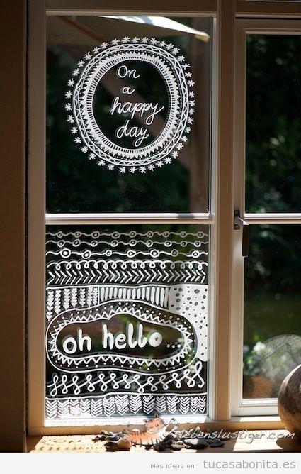 Ideas decoración ventana frases bonitas escritas con tinta líquida