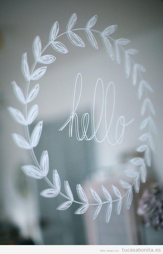 Ideas decoración ventana frases y dibujos tiza líquida saludos