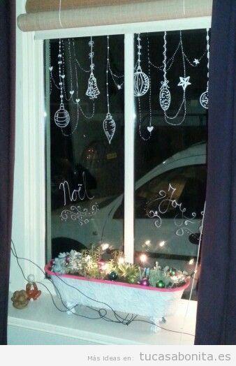 Ideas decoración ventana frases y dibujos tiza líquida Navidad 2