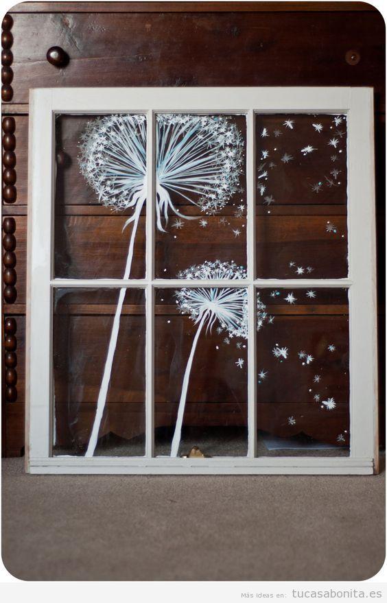 Ideas decoración ventana diente de león dibujado con tinta líquida