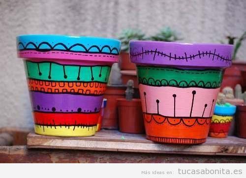 Ideas pintar macetas a mano colores vivos 2