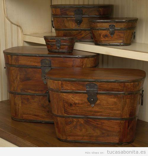Ideas decorar salón con cajas bonitas de madera 2