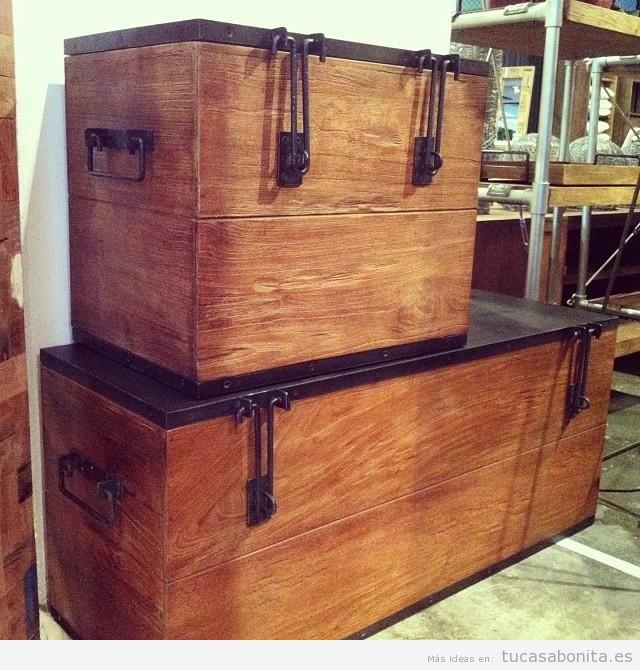 Ideas decorar salón con cajas bonitas de madera