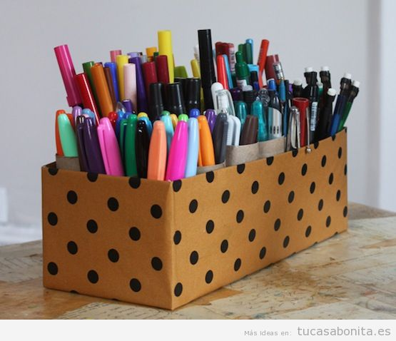Ideas decorar escritorio con cajas bonitas 2
