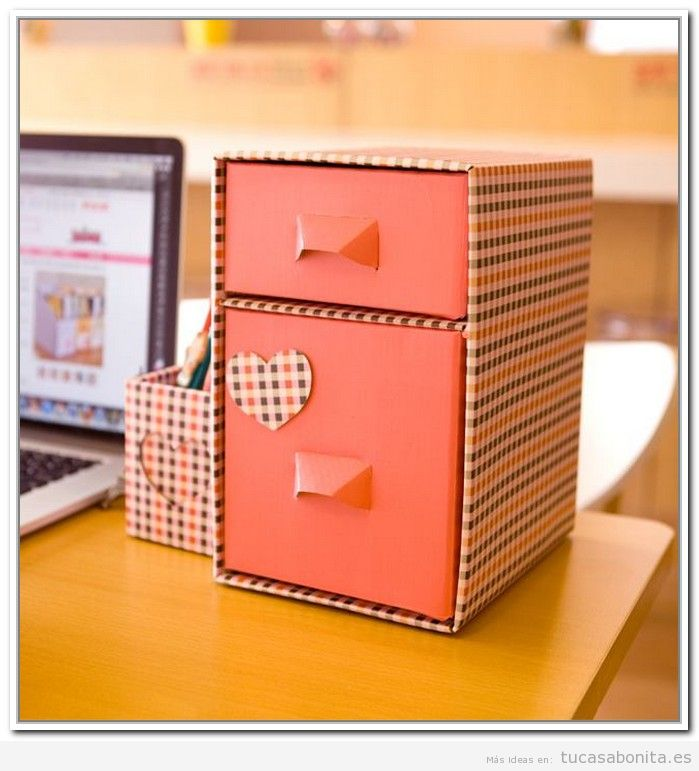 Ideas decorar escritorio con cajas bonitas