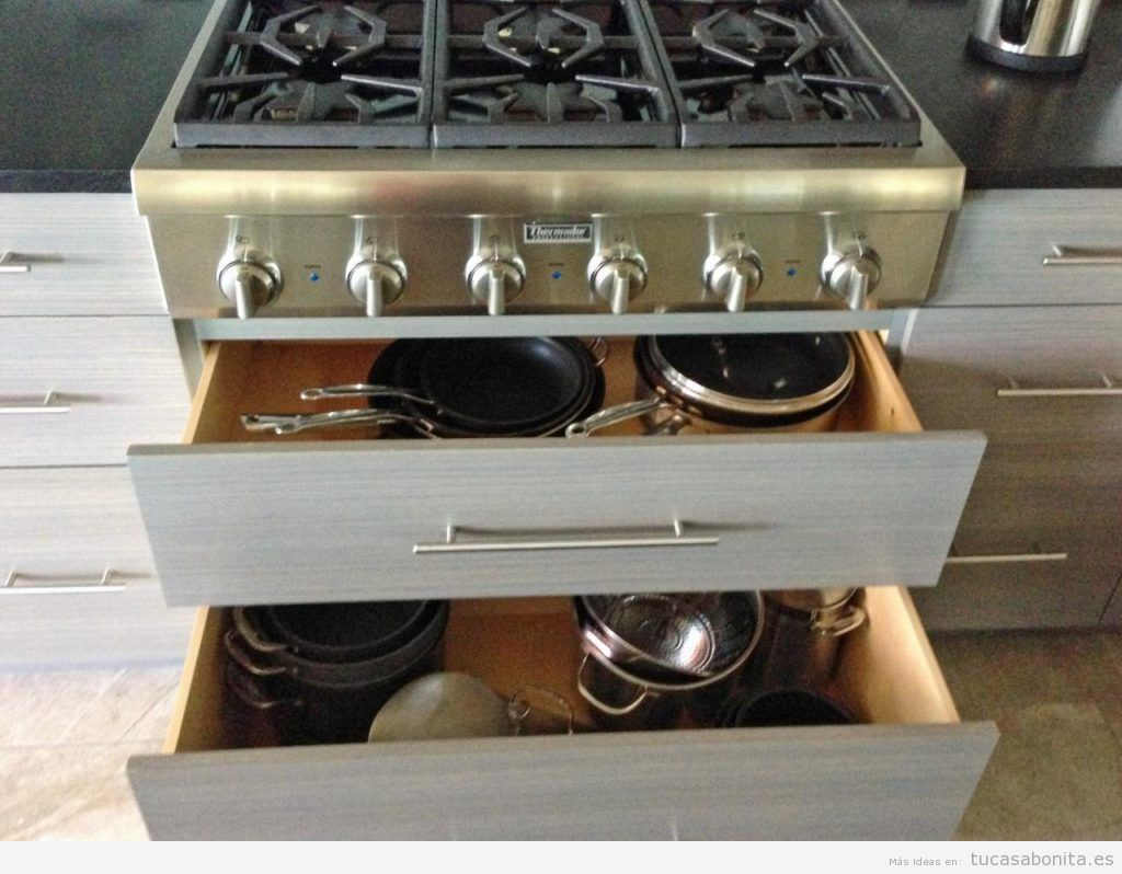 Trucos organizar las sartenes y ollas de la cocina