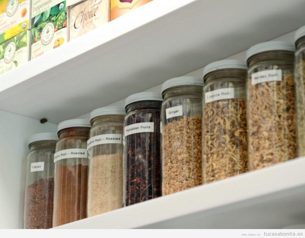 Trucos organizar los estantes de la cocina con especias