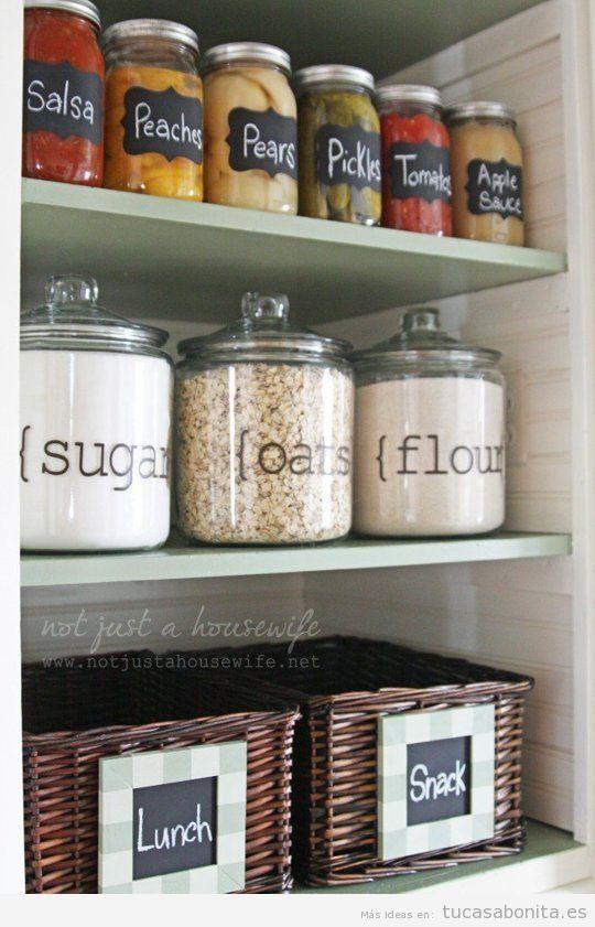 Trucos organizar los estantes de la cocina