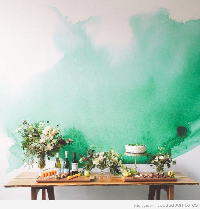 Ideas decorar paredes de casa con pintura acuarela 9