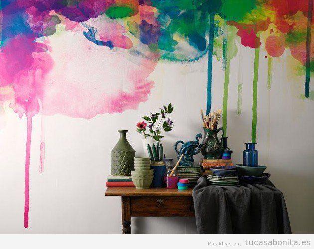 Ideas decorar paredes de casa con pintura acuarela 8