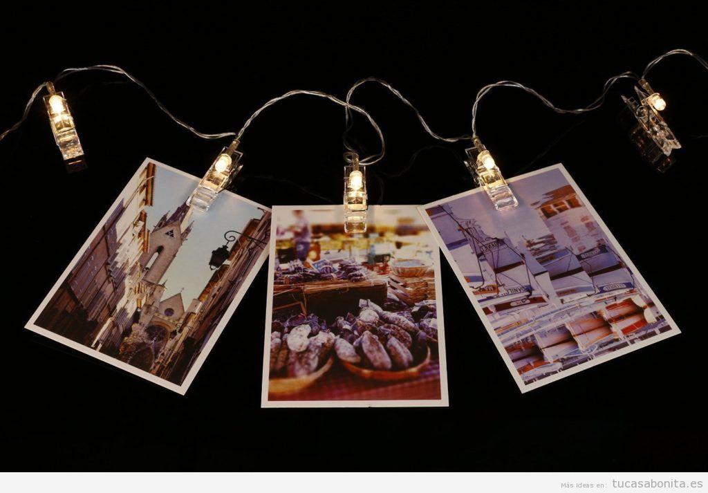 Guinaldas con pinzas con luces para colgar fotos