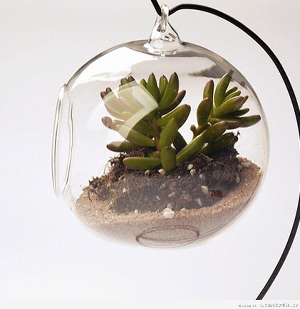 Objetos originales para decorar casa, macetero cristal colgante
