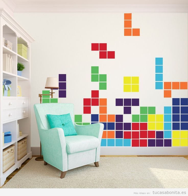 Ideas decorar casa videojuegos, Tetris en pared