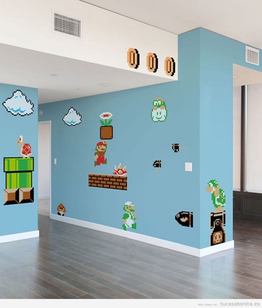 Ideas decorar casa videojuegos, paredes Mario Bros