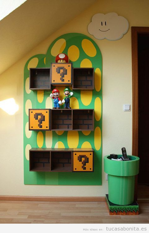 Ideas decorar casa videojuegos, estantería Mario Bros