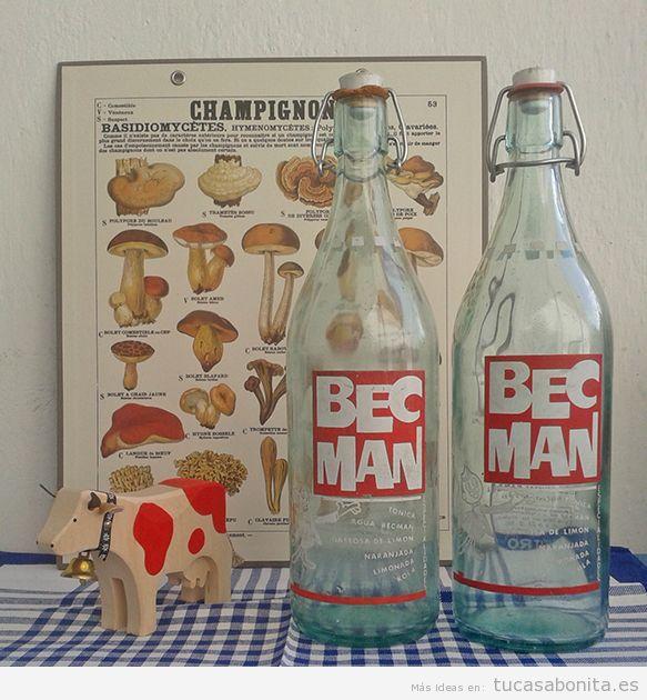 Boellas gaseosa antigua, decoración vintage
