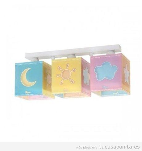 Lámpara infantil de techo luna, sol y nube