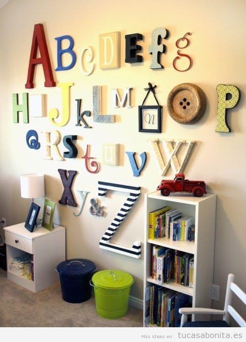 Letras grandes en pared para decorar habitación infantil