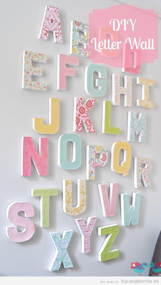 Letras grandes en pared para decorar habitación infantil 4