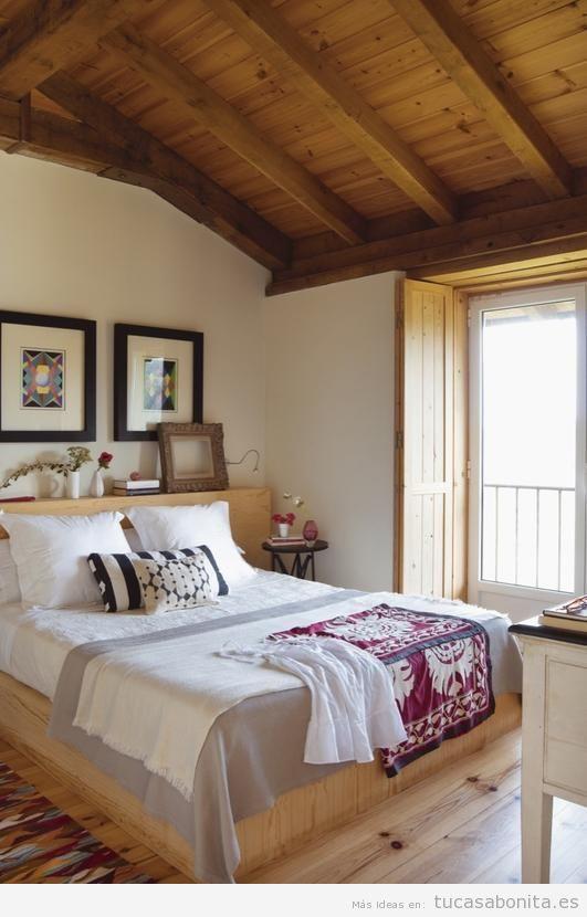 Decoración de casa de campo pequeña y rústica, dormitorio 3