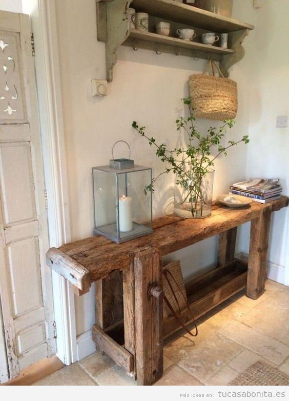 C mo decorar una casa de campo peque a y r stica tu casa - Mueble recibidor rustico ...