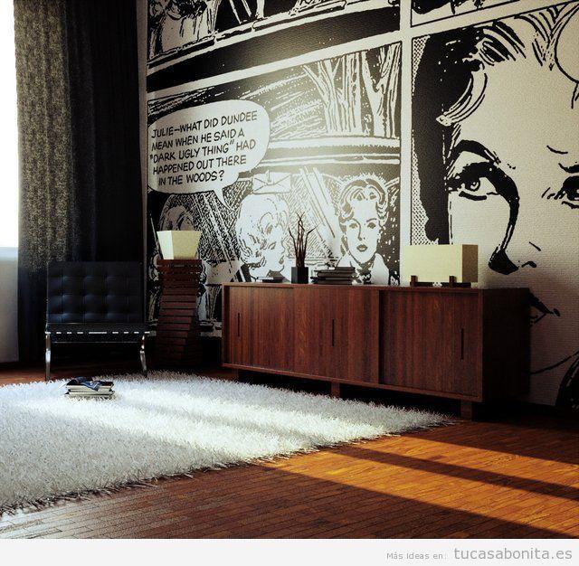 Decoración paredes casa con cómics y viñetas, sala de estar 3