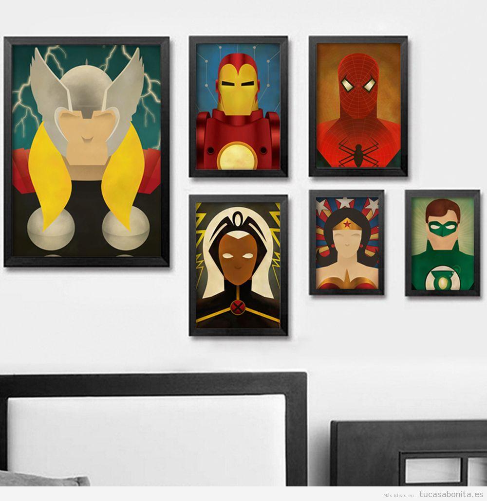 Decoración paredes casa con cómics y viñetas, dormitorio