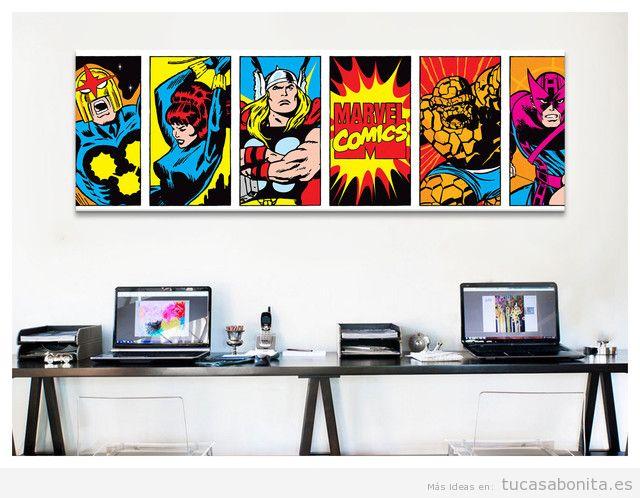 Decoración paredes casa con cómics y viñetas, despacho