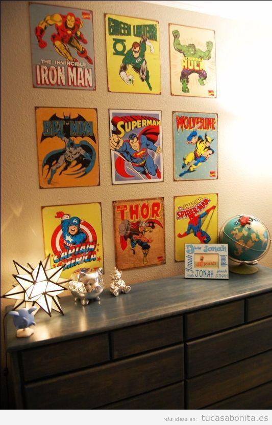 Decoración paredes casa con cómics y viñetas, habitación juvenil
