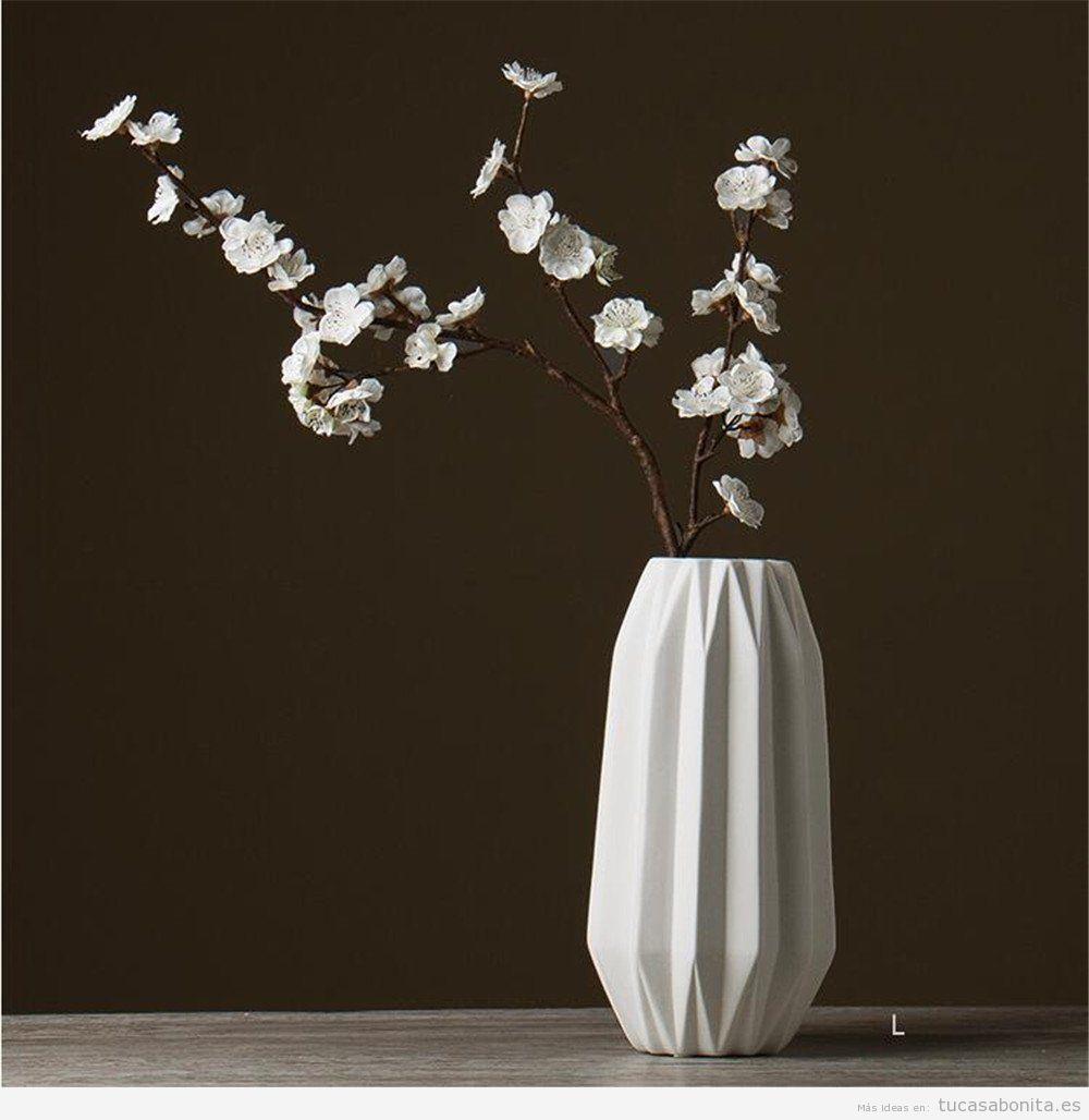 Jarrón geométrico de cerámica color blanco, comprar online