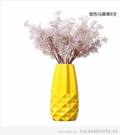 Jarrón geométrico de cerámica color amarillo , comprar online