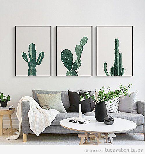 Decoración sala de estar minimalista con láminas de cactus