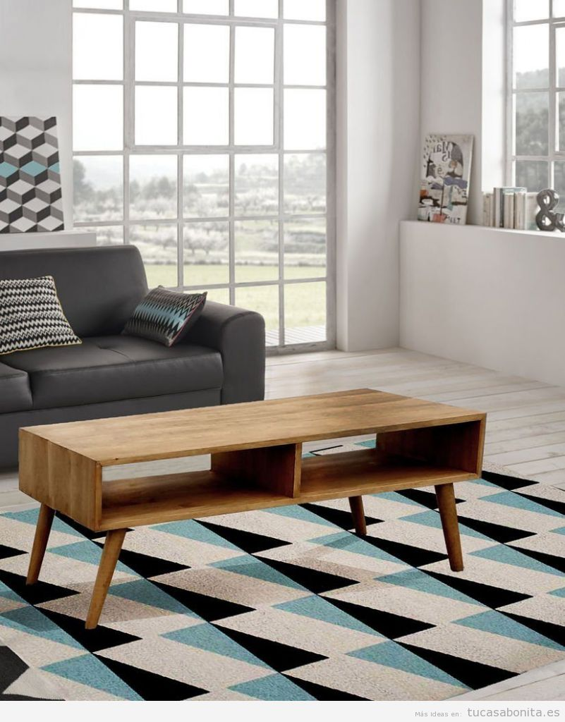 Decoración sala de estar minimalista con mesa auxiliar madera nórdica