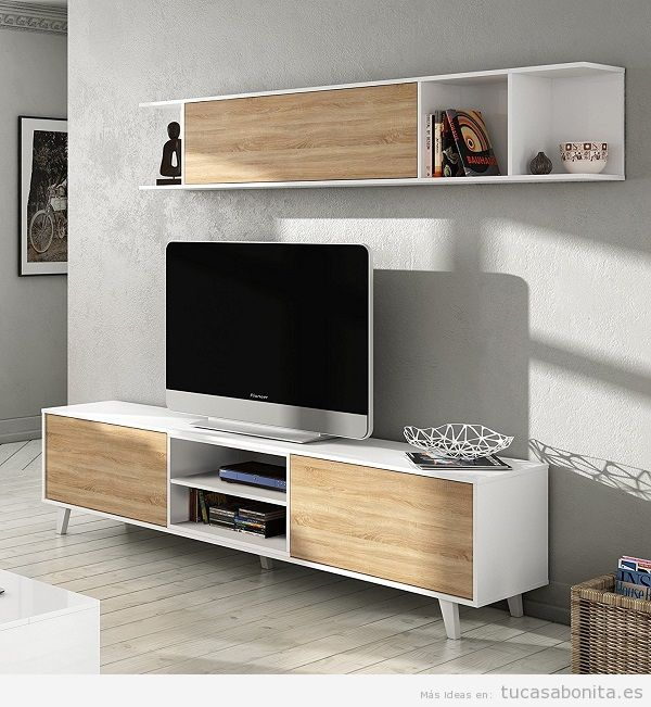 Decoración sala de estar minimalista con mueble nórdico