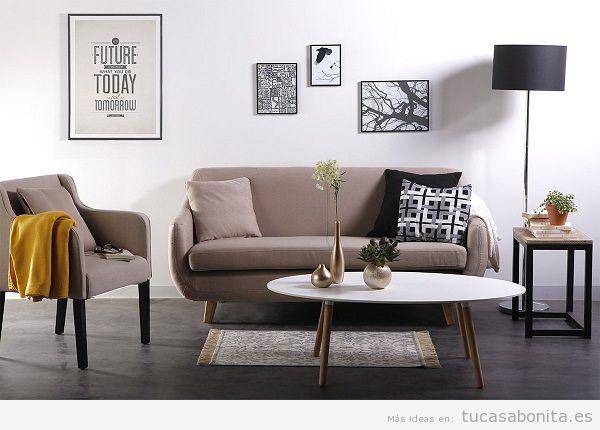 Decoración sala de estar minimalista con sofá escandinavo