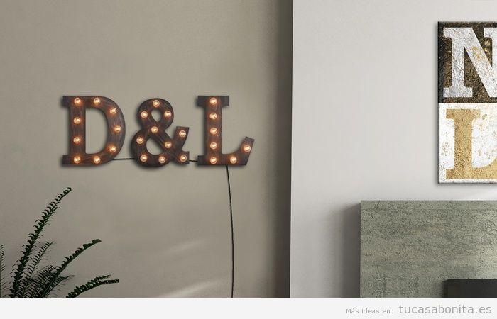Letras con luces para decorar pared de casa 2